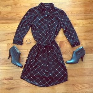 Black printed shirt dress
